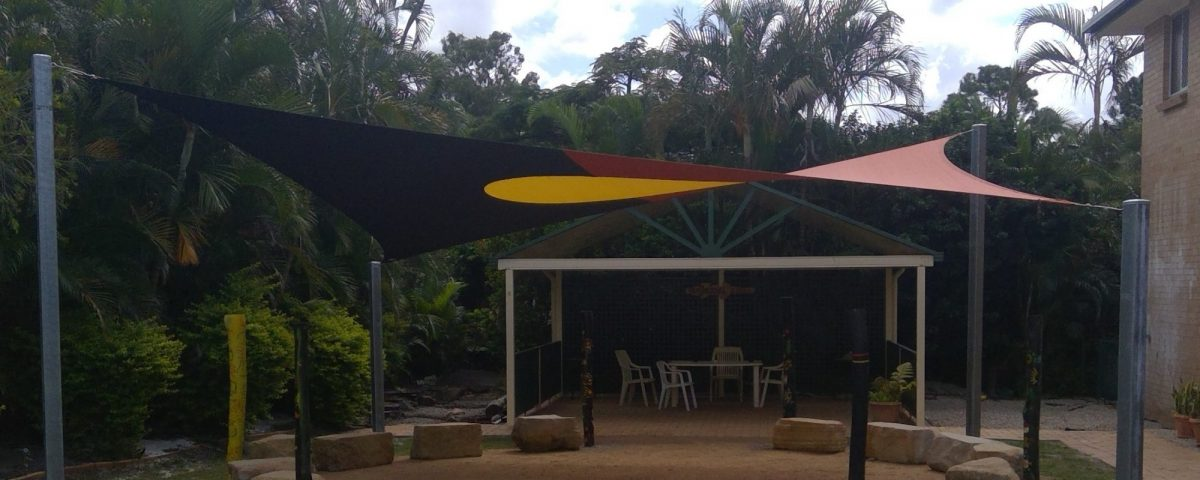 Aboriginal flag shade sail