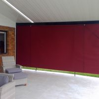 outdoor blind on patio