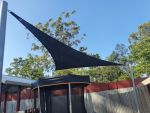 Another angle for Z16 Rainbow Shade Fabric Shade Sail installed for Deception Bay Respite Centre. Colour is Charcoal