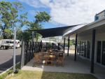 Shade Sail for Lives Lived Well of Caboolture. Fabric used is Extrablock. Colour is Charcoal
