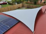 Shade sails installed for Sue of Margate. Fabric used is Driz. Colour is Silver