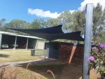 Shade sails installed for Robin of Burpengary East. Fabric used is Extrablock. Colour is Charcoal