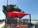 Shaded structure for the new deck area above the footy grounds at the Redcliffe League Club. Serve Ferrari colour