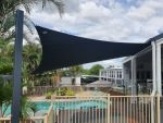 This shade sail was installed for Jill of Burpengary. Fabric used is Comshade XTRA. Colour is Charcoal